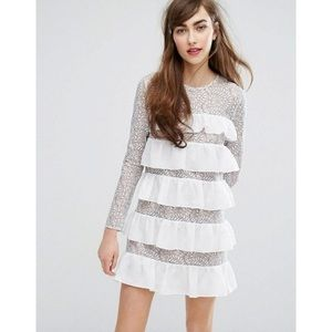 NWOT ASOS tiered ruffle and lace dress
